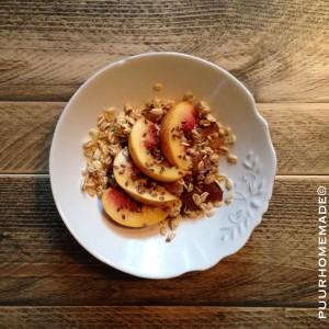 Havervlokken-ontbijt met nectarine